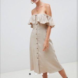 ASOS off the shoulder linen dress